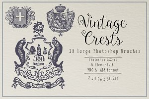 Vintage Crests Photoshop Brushes