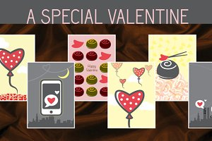Valentine & Love Greeting Card Set