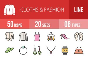 50 Clothes Fashion Line Filled Icons