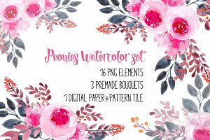 Peonies watercolor set RB-02
