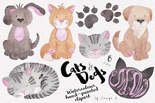 Cats and Dogs Watercolour Clipart
