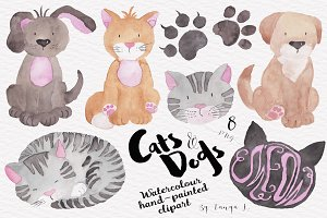 Cats Dogs Hand-painted Watercolour