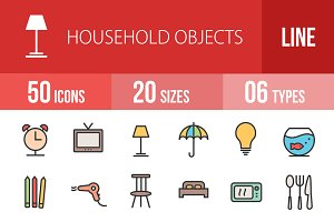 50 HouseholdObject Line Filled Icons