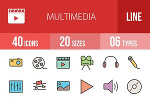 40 Multimedia Line Filled Icons