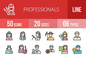 50 Professionals Line Filled Icons