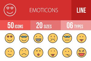 50 Emoticons Line Filled Icons