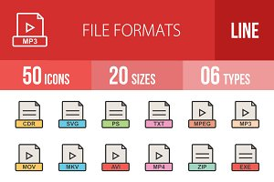 50 File Formats Line Filled Icons