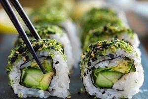 green kale veggie sushi