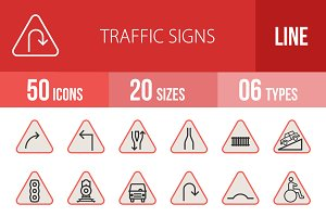 50 Traffic Signs Line Filled Icons