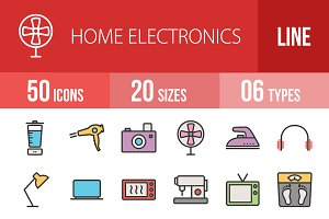 50 Home Electronic Line Filled Icons