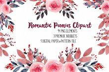 Romantic Peonies Clipart RB-03