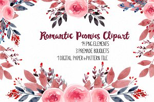 Romantic Peonies Clipart RB-03