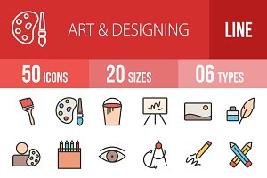 50 Art & Designing Line Filled Icons