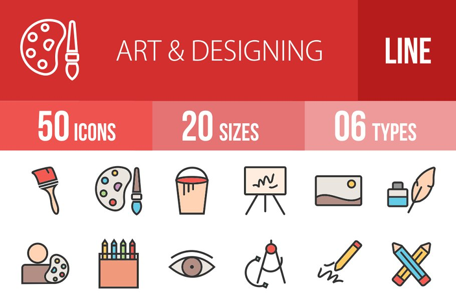 50 Art & Designing Line Filled Icons