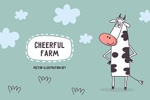 Vector set of Cheerful farm