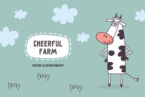 Vector set of Cheerful farm