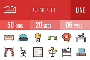 50 Furniture Line Filled Icons