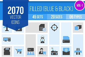 2070 Blue & Black Icons (V1)