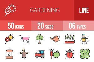 50 Gardening Line Filled Icons