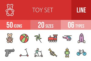 50 Toy Set Line Filled Icons