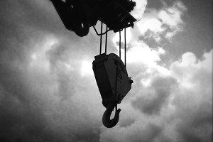 Crane in clouds