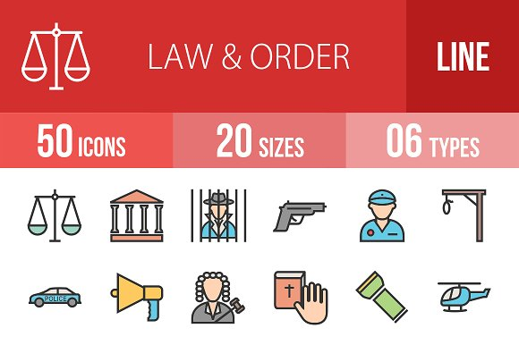 50 Law & Order Line Filled Icons