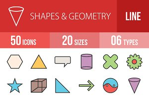 50 Shapes Geometry Line Filled Icons