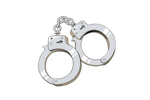 Iron handcuffs for criminal