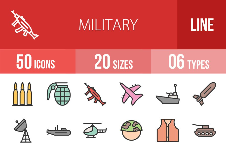 50 Military Line Filled Icons