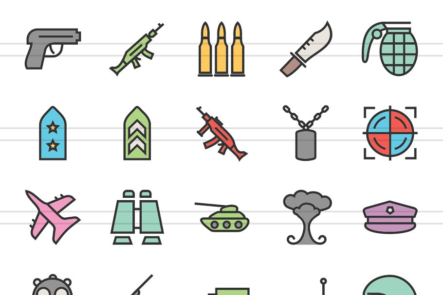 50 Military Line Filled Icons in Icons - product preview 1