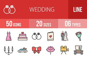 50 Wedding Line Filled Icons
