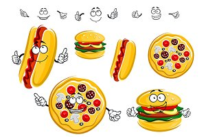 Pizza, hot dog and hamburger