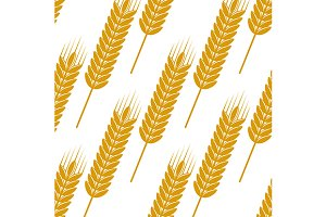 Golden wheat seamless pattern