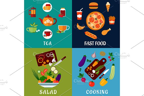 Healthy and fast food flat icons