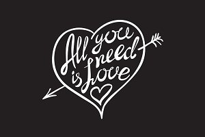 All you need is love lettering