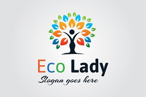 Colorful Woman Tree Logo