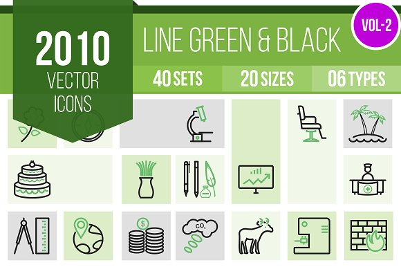 2010 Line Green & Black Icons (V2) in Icons