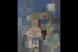 Abstract cubist painting
