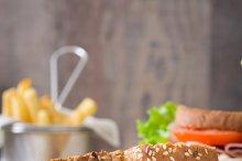 Chicken and vegetable sandwich
