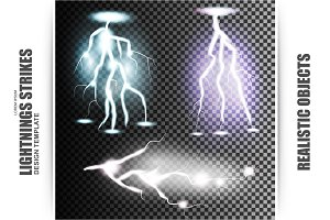Set of Realistic Lightnings