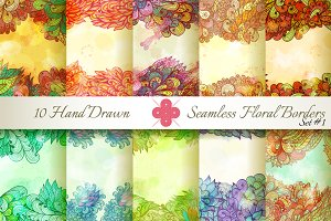 10 Floral Seamless Borders. Set#1