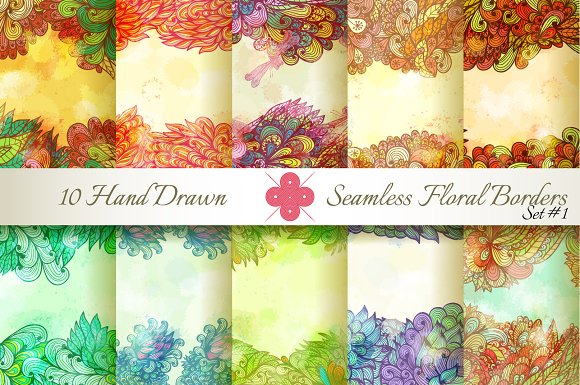 10 Floral Seamless Borders. Set#1 - Patterns