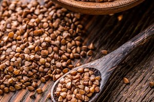 Buckwheat seeds in bowl