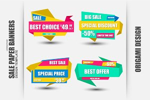 Set of Sale Paper Banners