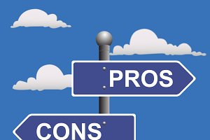 pros and cons street sign, vector