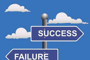 success and failure street sign