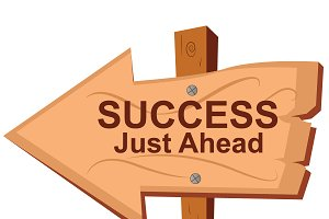 Success just ahead, wooden sign