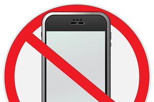 No, cell, phone, sign, illustration