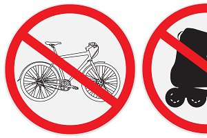 set of no bikes, ride, roller