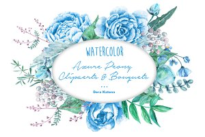 Watercolor Azure Blue Peony Clipart
